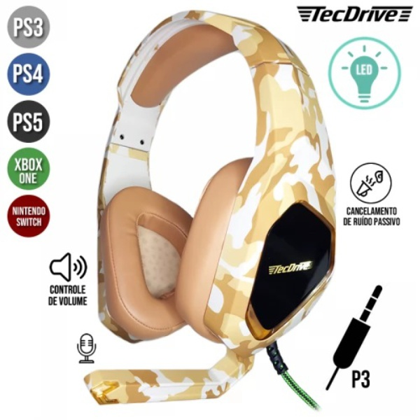 Headset Gamer Led P3 Usb Px-9 Guarani Tecdrive - Camuflado